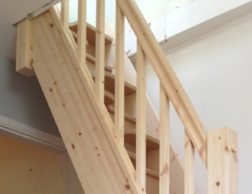 newly built wooden stairs