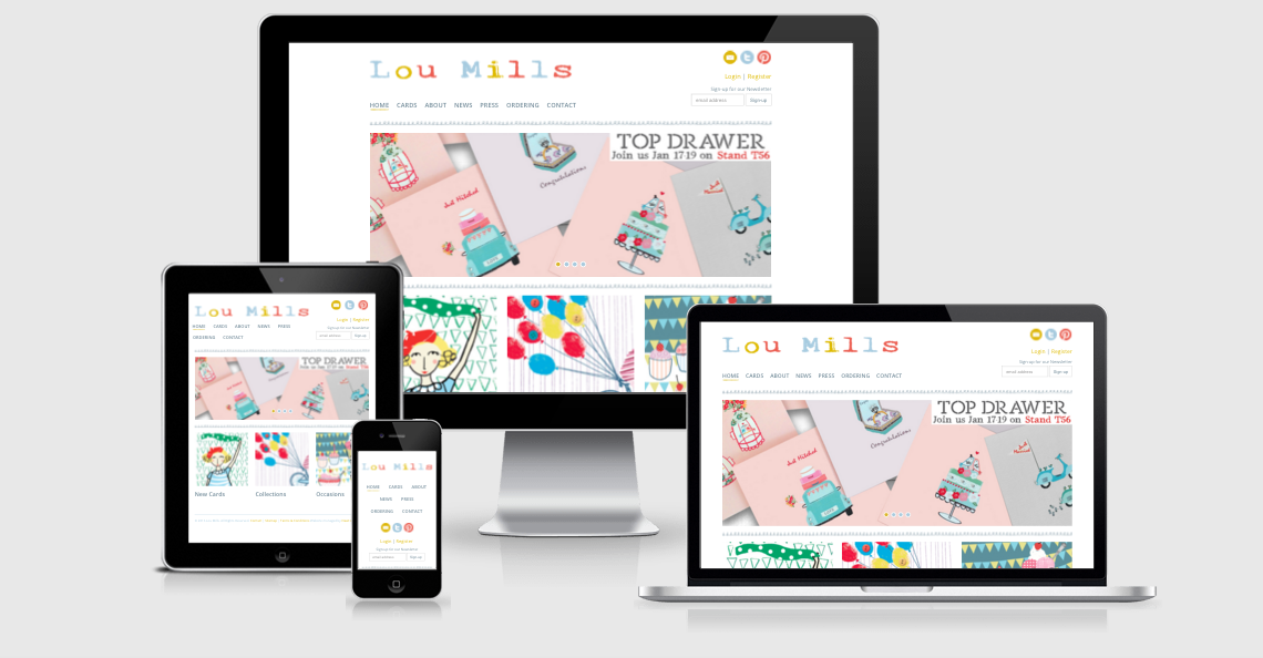lou mills cards responsive website design