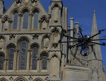 uav outside ely cathedral