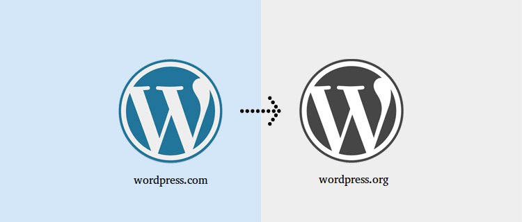 WordPress logo showing migration from .com to .org