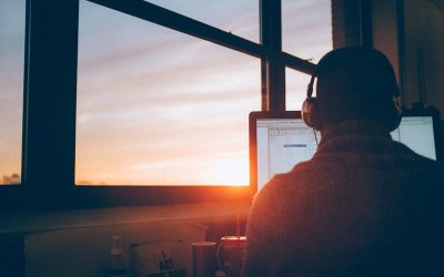 wordpress support team member with sunset out the window