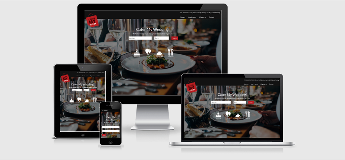 catering website shown on different sized devices