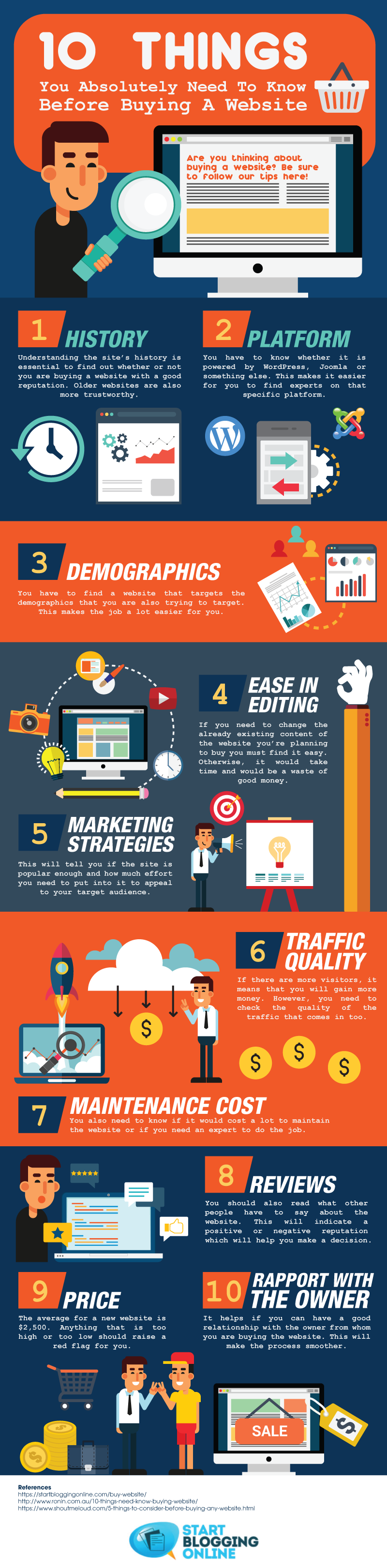 10 Things You Absolutely Need To Know About Buying A Website infographic