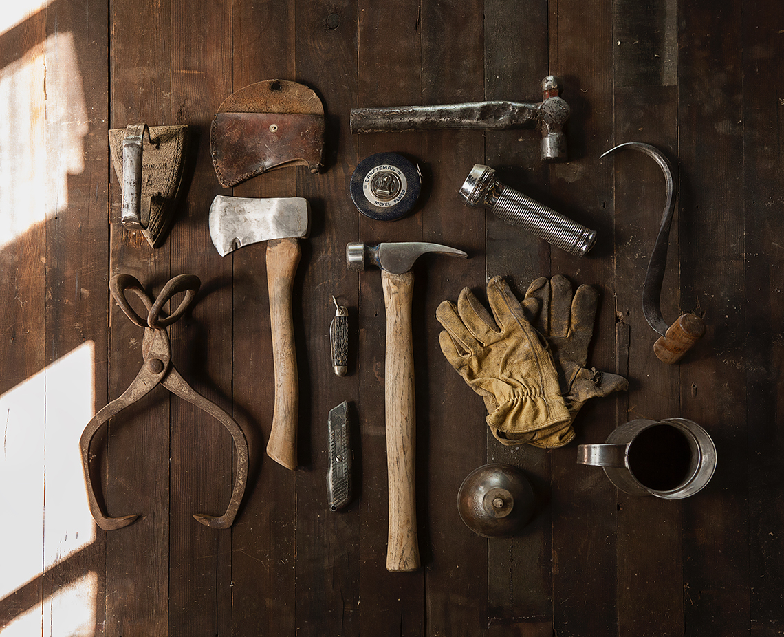 many tools on workbench