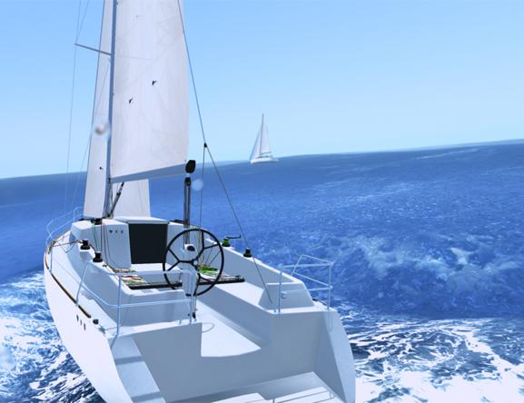 sailaway simulator game screenshot of sailing boat in deep water