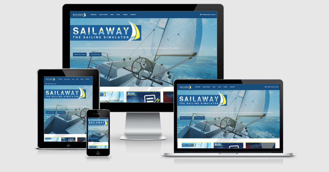 sailaway website shown on iphone ipad macbook and imac