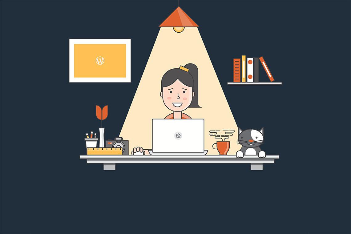 illustration of lady at work desk