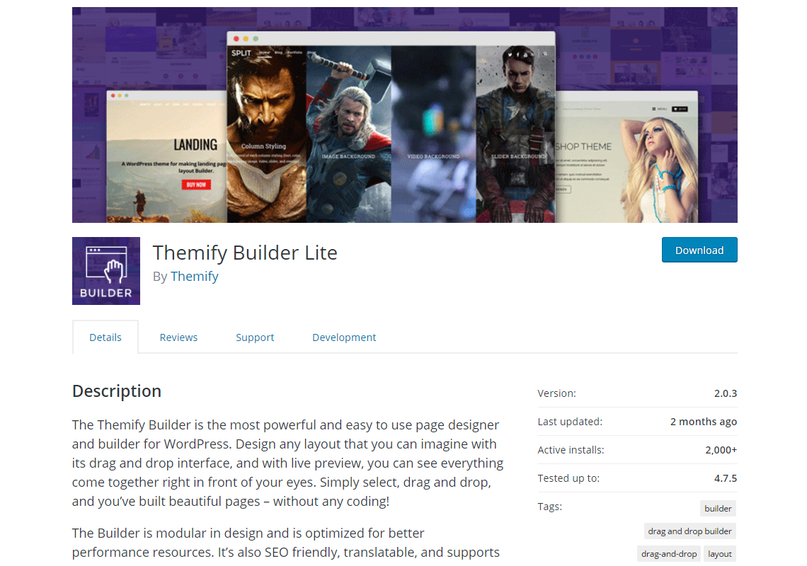 themify builder lite