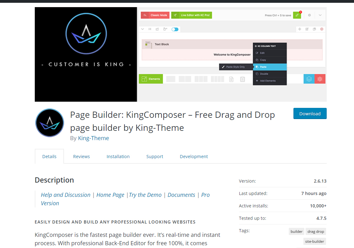 page builder king composer