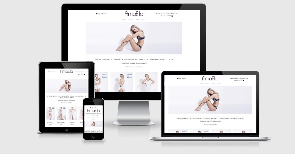 amaella lingerie website responsive design