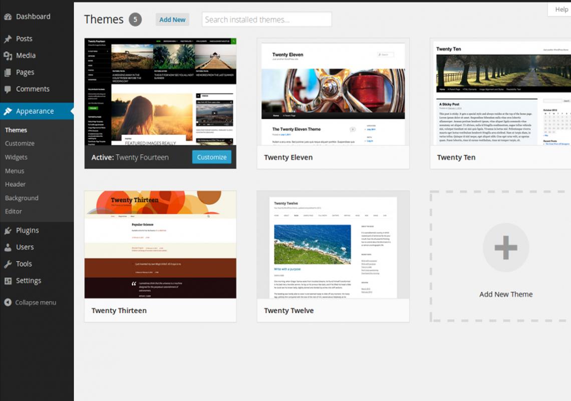 wordpress theme area