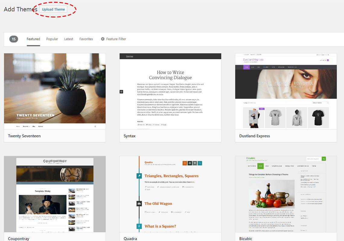 upload wordpress theme button