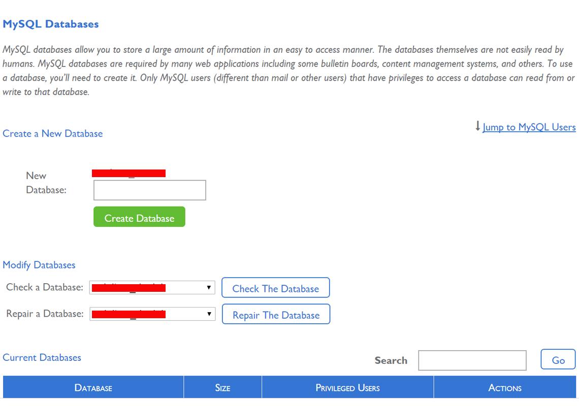 create a database through cpanel