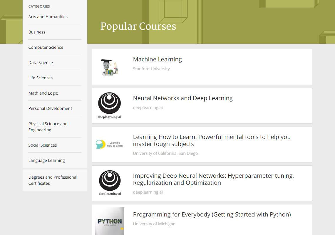 list of online courses
