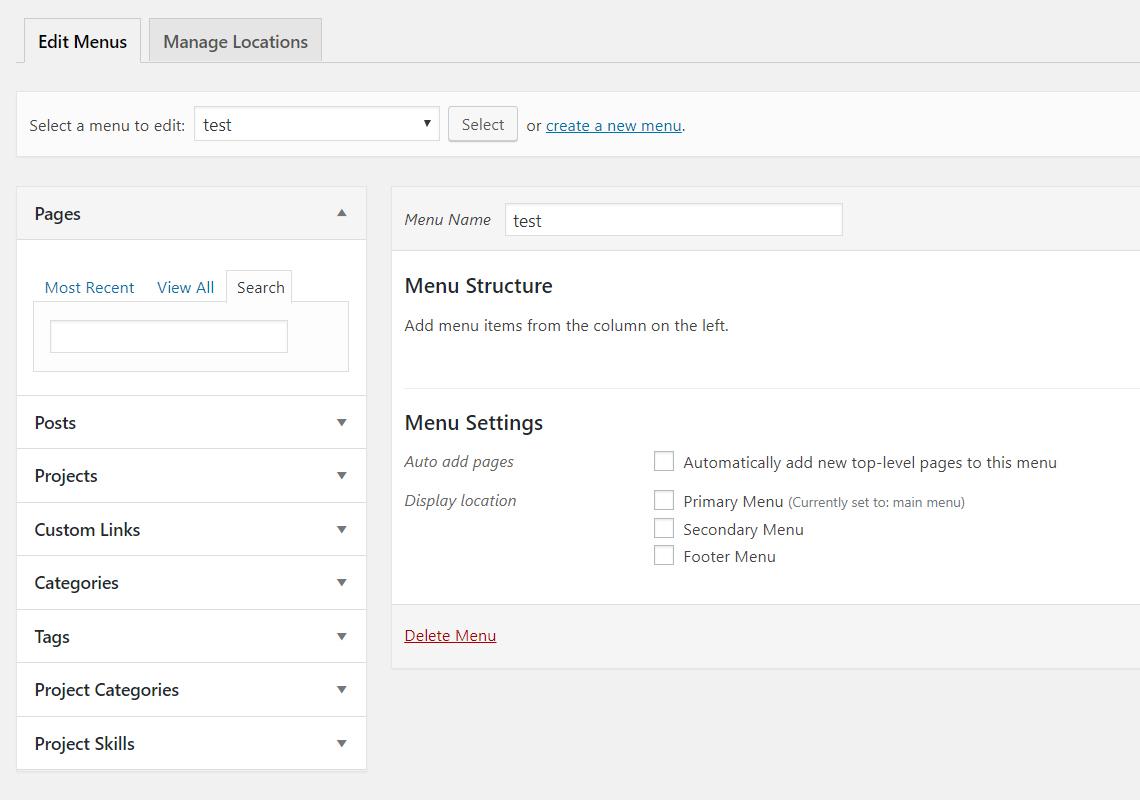 create test menu in WordPress