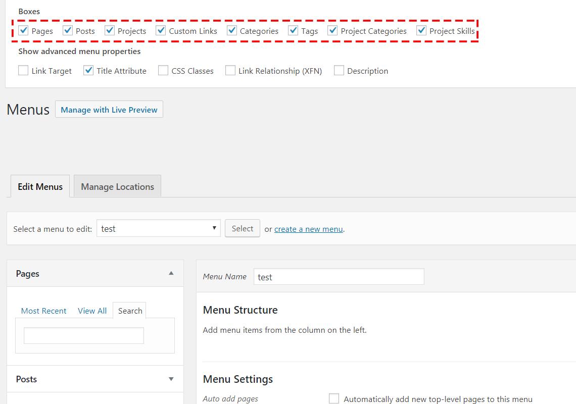 screen settings menu in WordPress