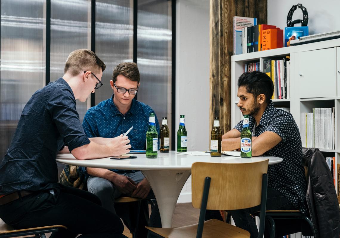 office meeting over beers