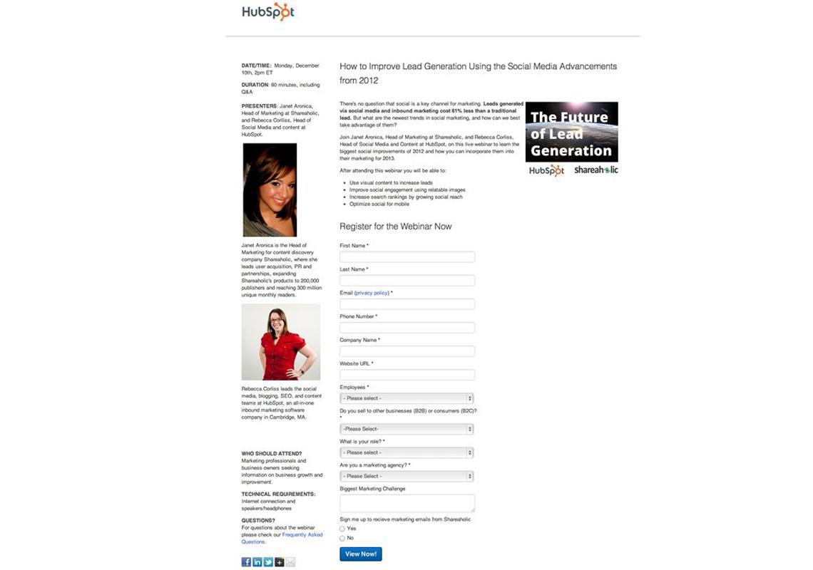 hubspot webinar registration page