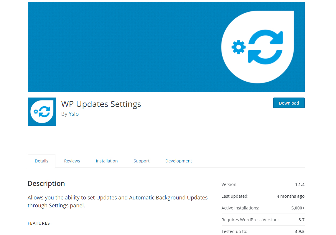 wordpress updates settings plugin