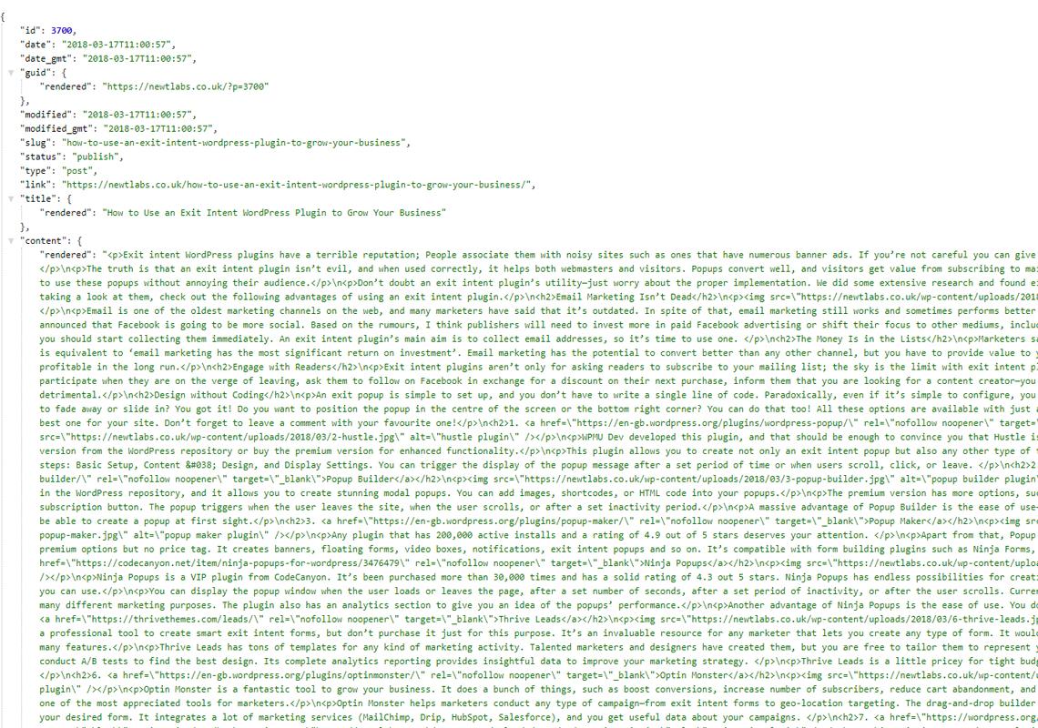wordpress api show posts output