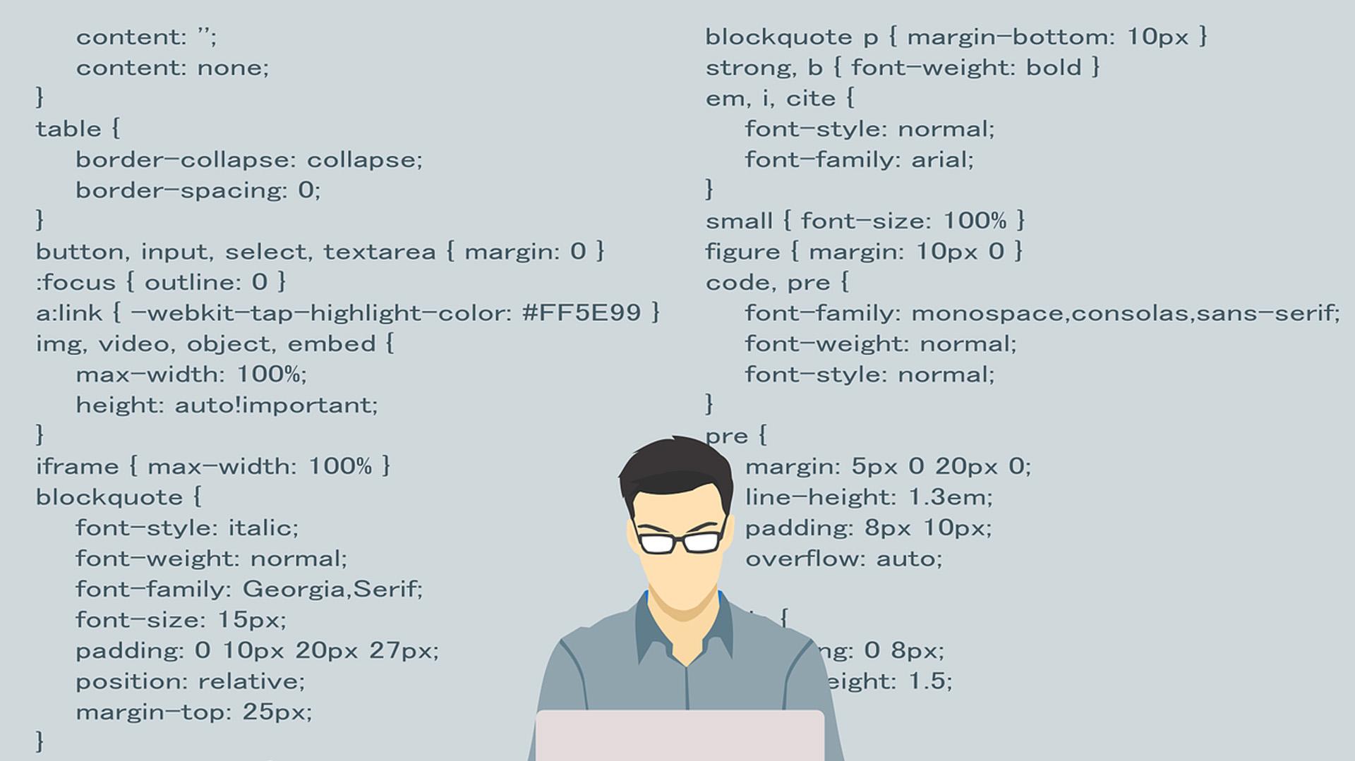wordpress content behind illustration of man on laptop