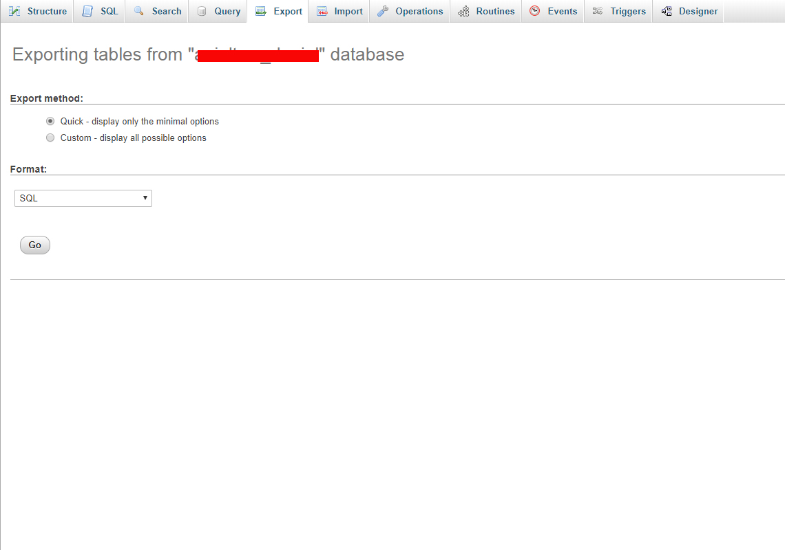 export database in phpmyadmin