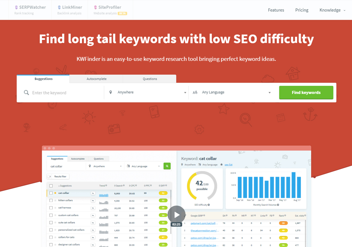 long tail keyword finder tool seo website