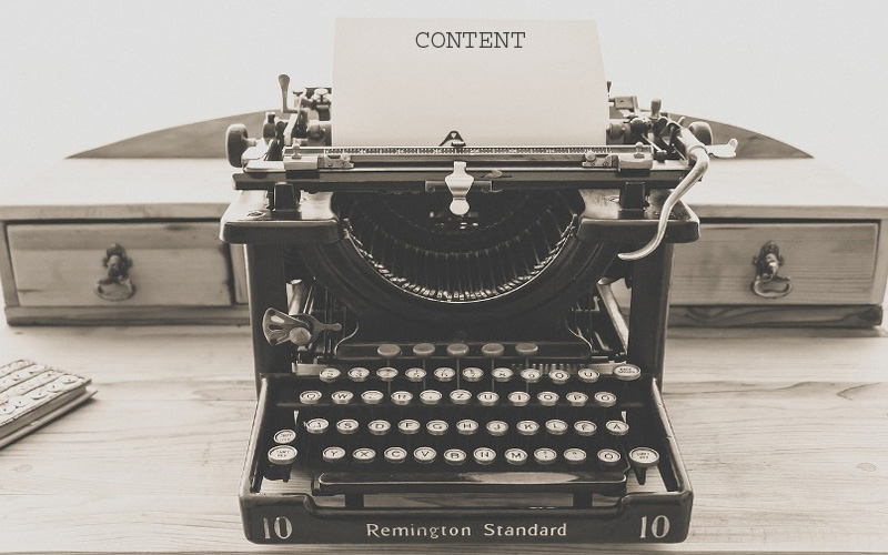 typewriter with content written as a title