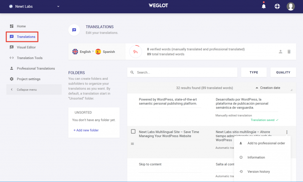 weglot translation settings dashboard
