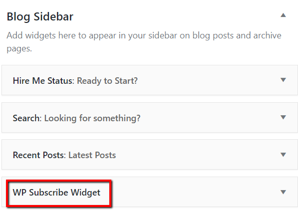Blog Sidebar Widget List
