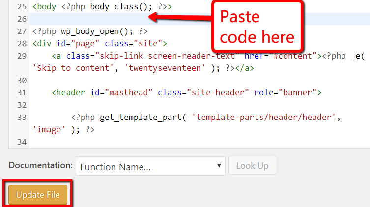 Paste in Header.php