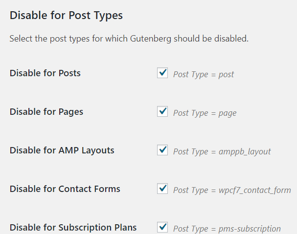 Disable for Post Types