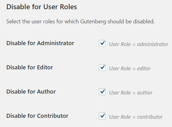 Disable for User Roles
