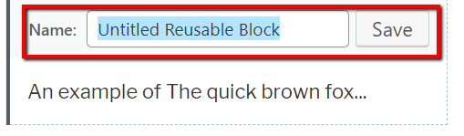 Name Reusable Block