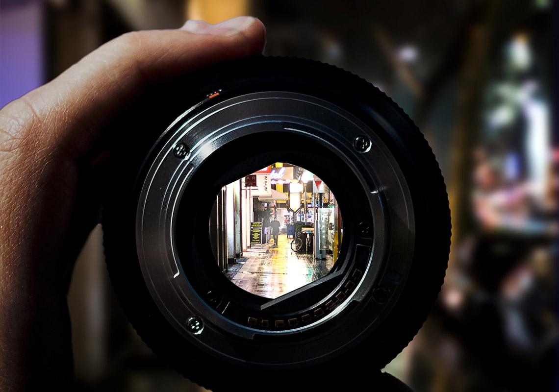 looking through a camera lens